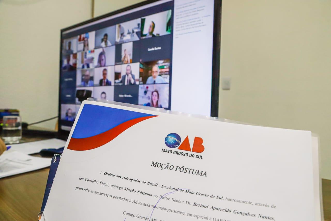 Marcado por fortes emoções, Conselho da OAB/MS realiza Moções Póstumas a três advogados